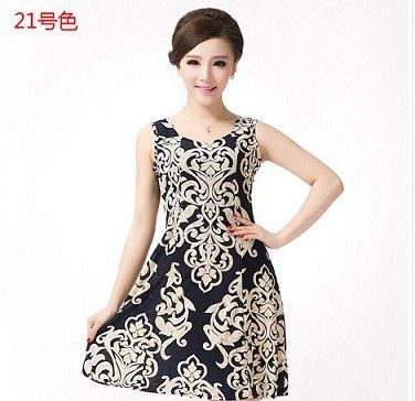 Women Summer Dress Milk Silk tank sundress square collar Casual Plus Size floral print dress