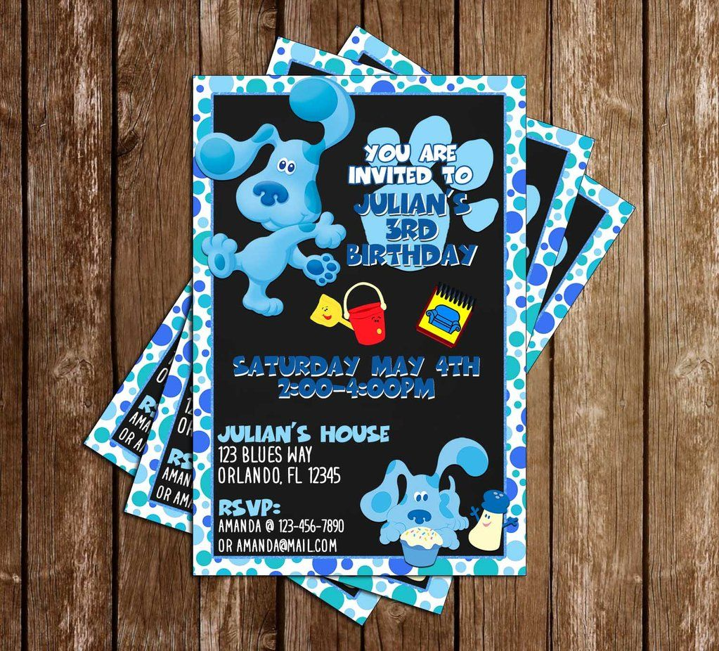 Blue S Clues Nick Jr Blue Birthday Party Invitation With Images Blue Birthday Parties Birthday Party Invitations Blue Birthday