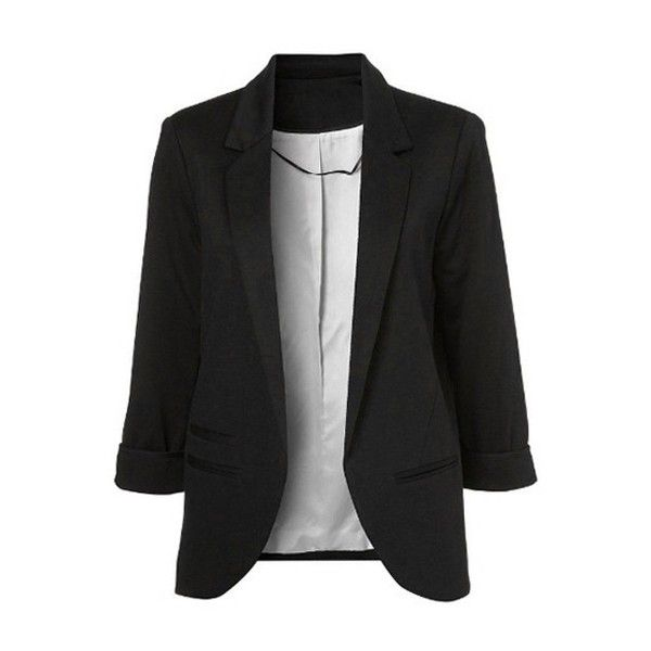 3/4 Sleeve Solid Color Blazer (31 CAD) ❤ liked on Polyvore featuring outerwear, jackets, blazers, three quarter sleeve blazer, 3/4 sleeve jacket, 3/4 sleeve blazer and three quarter sleeve jacket