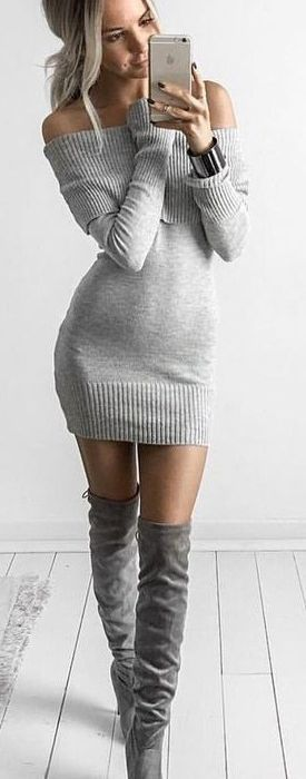 Sweater dress with boots 2018 fashion