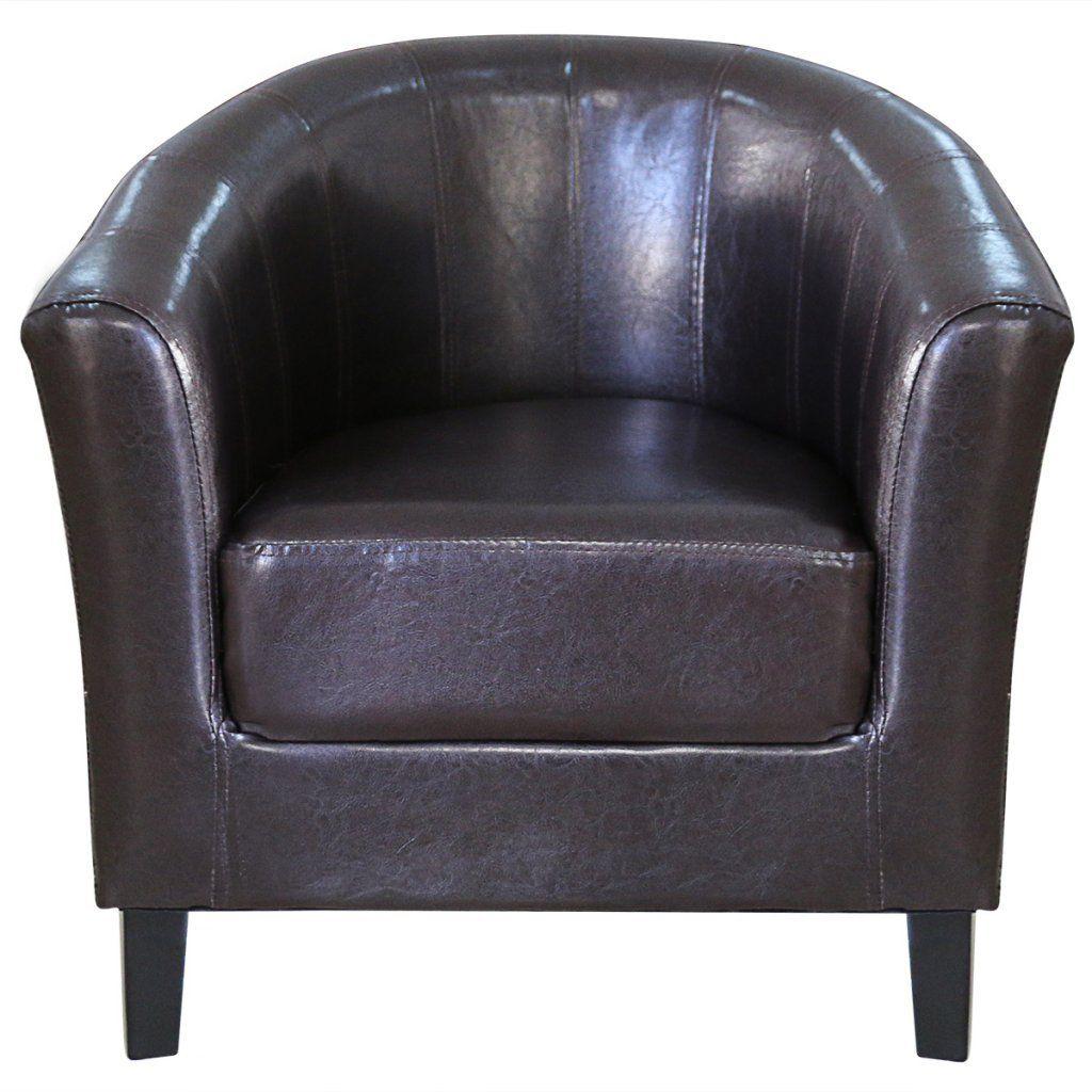 Festnight Leather Tub Barrel Club Seat Chair Arm Chair Single Sofa Chair Living Room Reception Armcha Leather Tub Chairs Brown Leather Chairs Single Sofa Chair