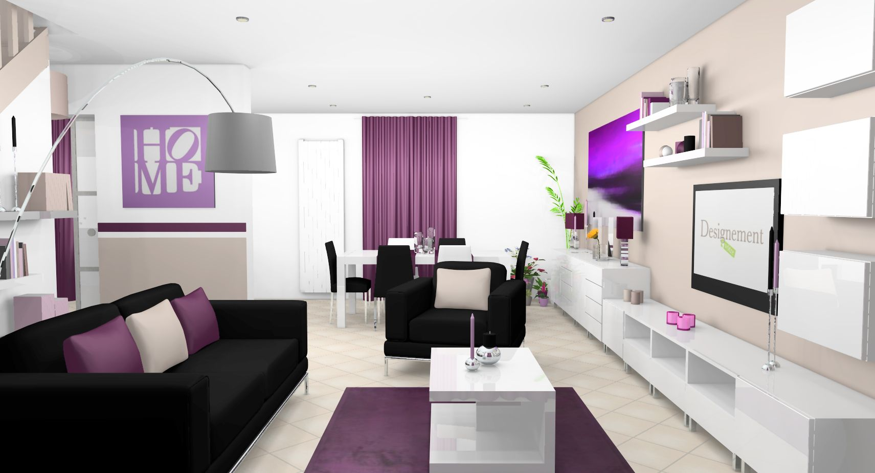 Déco intérieur Pourpre | Séjour salle à manger cuisine moderne blanc ...