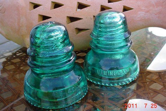 vintage glass insulators & Vintage Glass TELEPHONE/Electrical POLE Insulators | Glass ...
