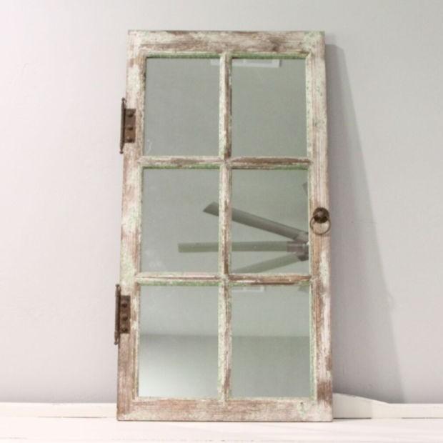 Rustic Mirrored Window Pane Mirror Wallmirror Rustic Mirror Frame Antique Farmhouse Window Decor