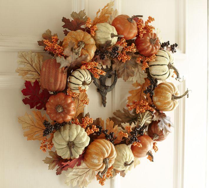 Pottery Barn Inspired Harvest Pumpkin Wreath Pumpkin Wreath Harvest Wreath Fall Decor
