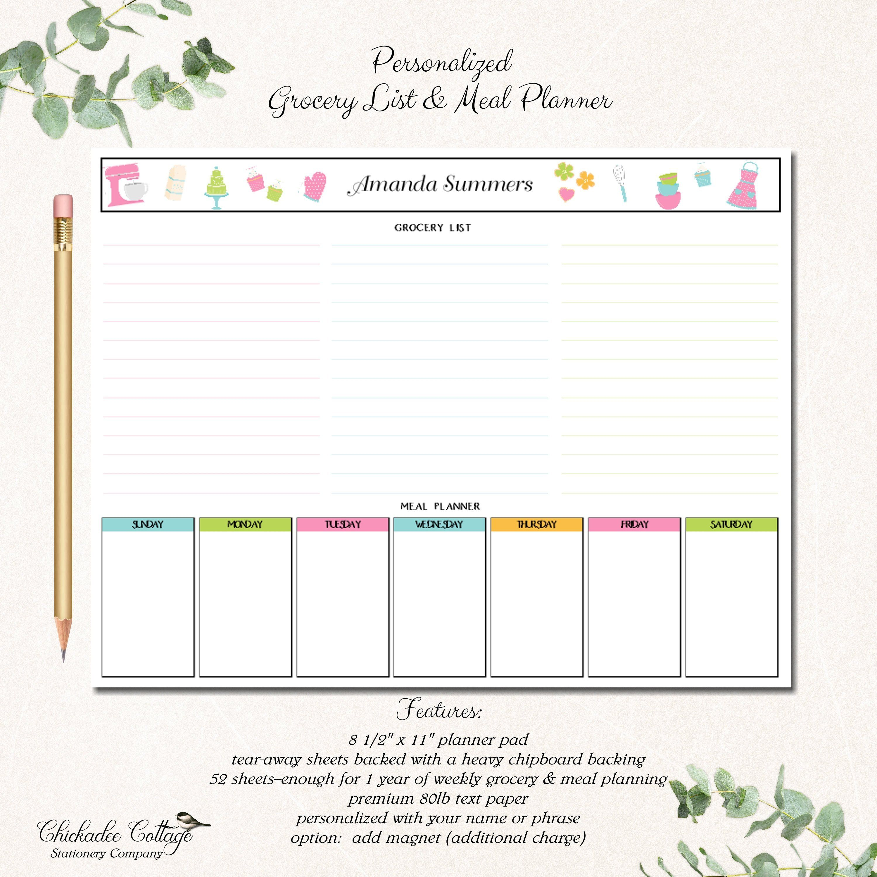 One Year Printed Grocery List And Meal Planner Kitchen