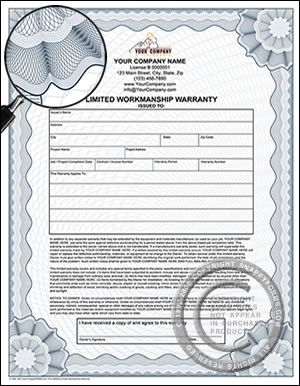 Limited Workmanship Warranty Certificate  Quality Construction