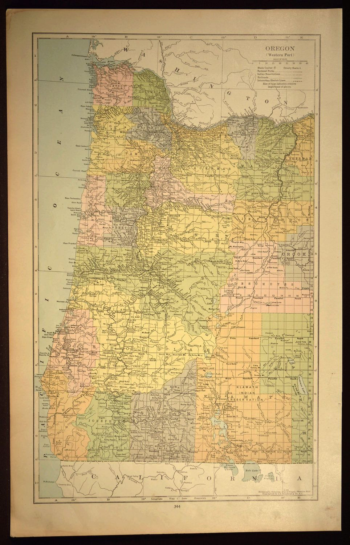 Oregon Coast Map Oregon Road Map LARGE Western Wall Art Decor | Map ...