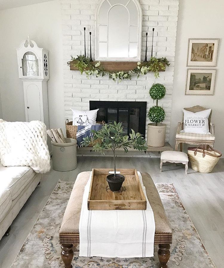 Farmhouse Living Room Decor With Brick Fireplace, Boxwood
