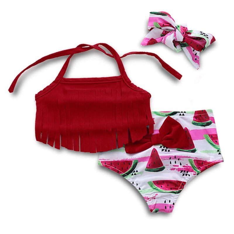 Infant Baby Girl Bikini Bathing Suit Watermelon Tassel Sling Tops+Shorts Bikini Sets Outfit Summer