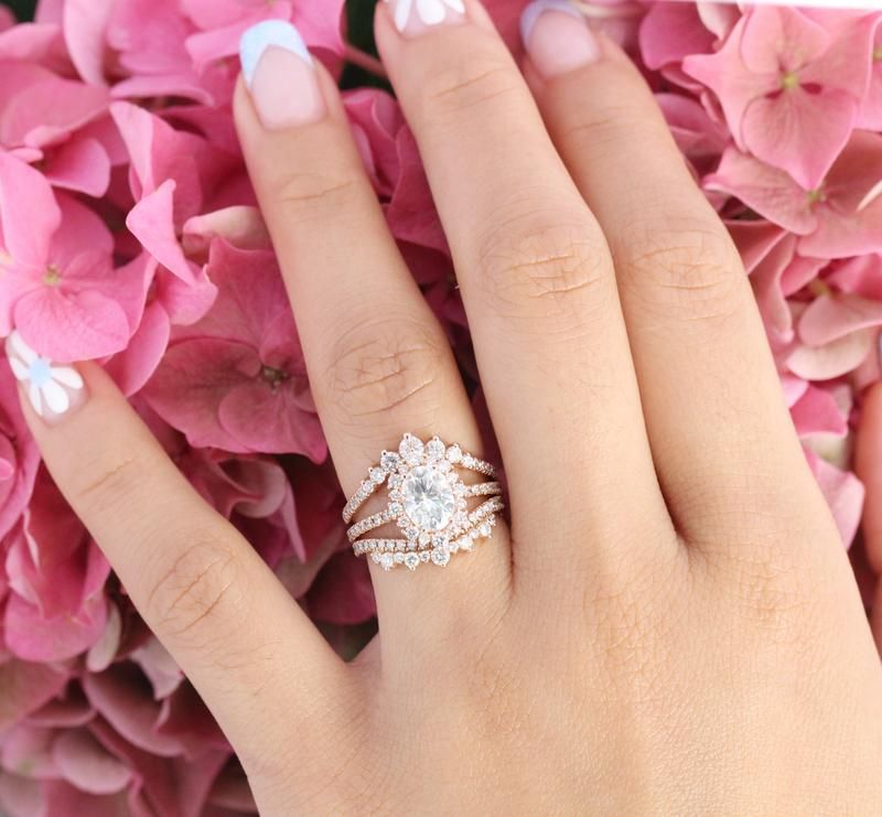 Tiara Halo Pave Bridal Set W Oval Moissanite And Crown Diamond Band Moissanite Engagement Ring Rose Gold Rose Gold Oval Engagement Ring Diamond Alternative Engagement Ring