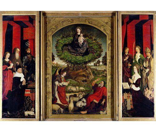 Gerahmter Kunstdruck The Triptych of Moses and The Burning Bush C.1476 von Nicolas Froment East Urban Home Größe: XL