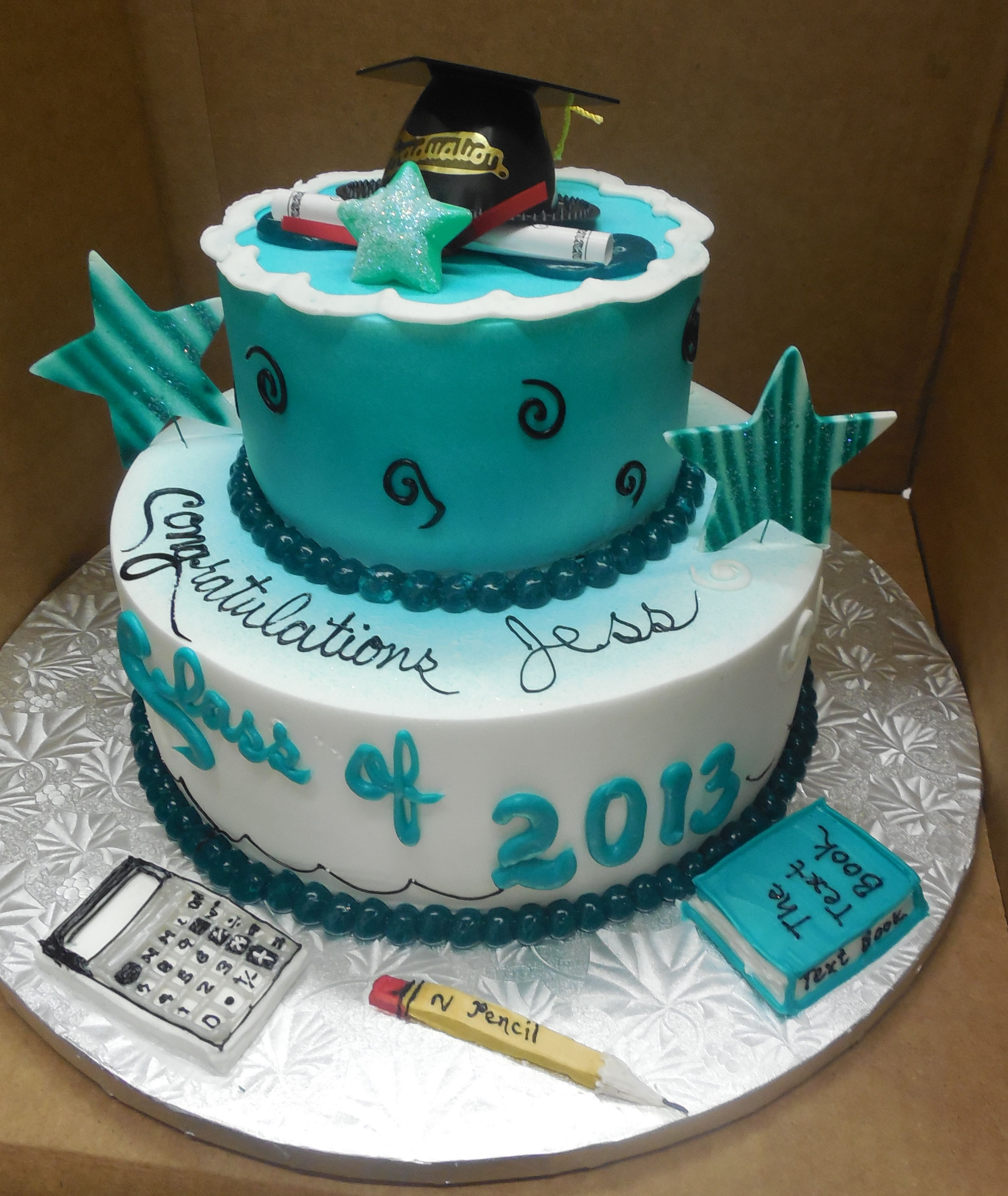 Calumet Bakery Two Tier Ercream Graduation Cake With Gel Art On Board Pencil