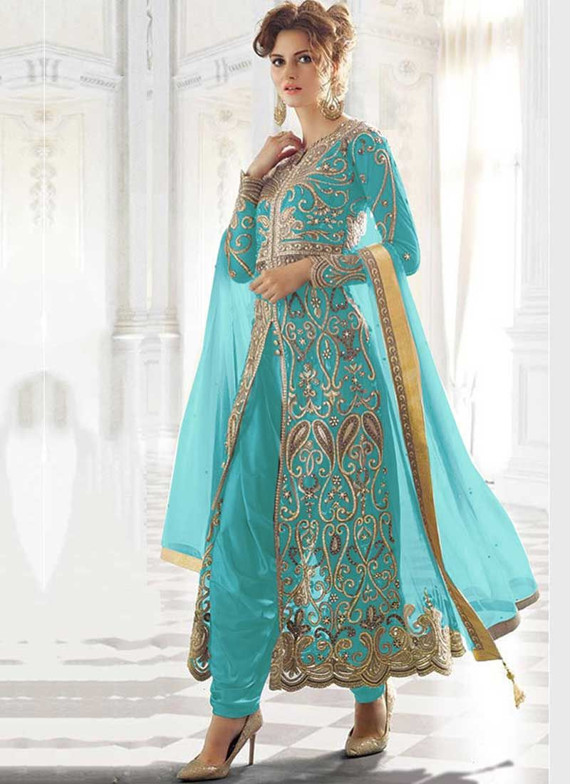 Sky Blue Embroidery Work Net An Crepe Santoon Wedding Designer Patiala Suit