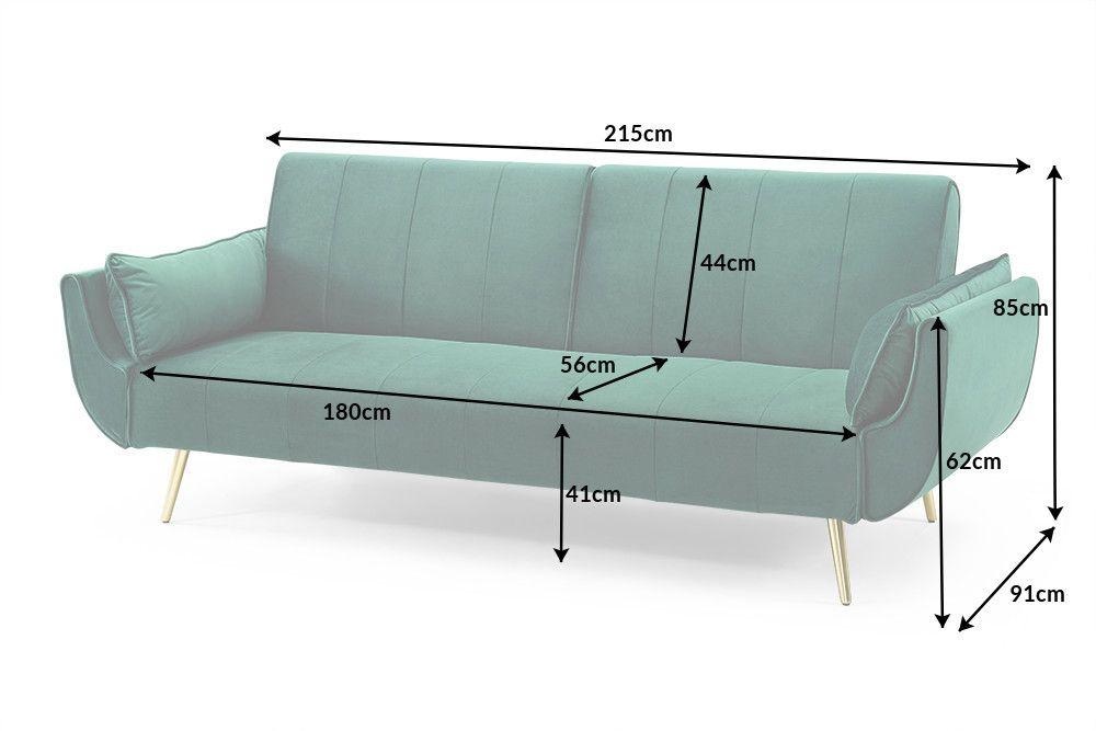 Retro Schlafsofa Divani 215cm Smaragdgrun Samt Goldene Fusse Bettfunktion 3er Sofa Riess Ambiente De 3er Sofa Sofa Retro Mobel