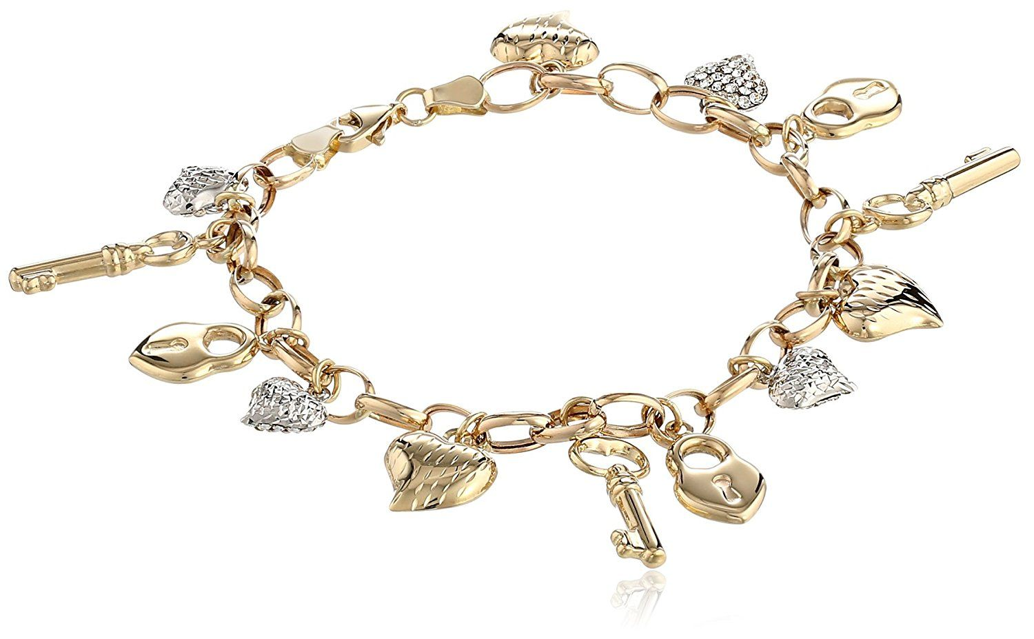 K Yellow White Gold Heart Lock and Key Link Charm Bracelet