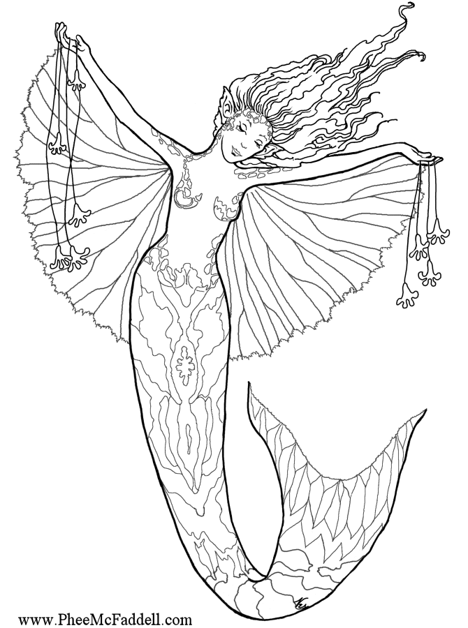 here are some free fairy fantasy mermaid coloring pages by phee mcfaddell - Mermaid Coloring Sheets