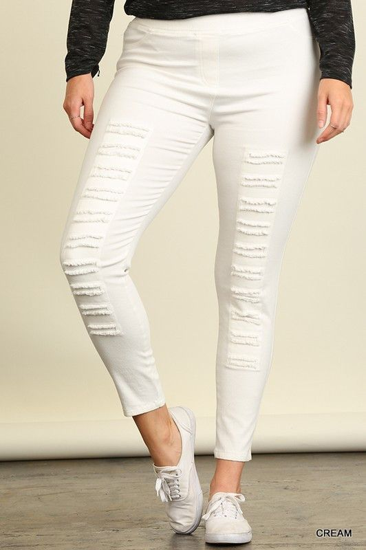 794a93a33ccec Umgee Cream High Waist Distressed Jegging (PLUS) | Clothing