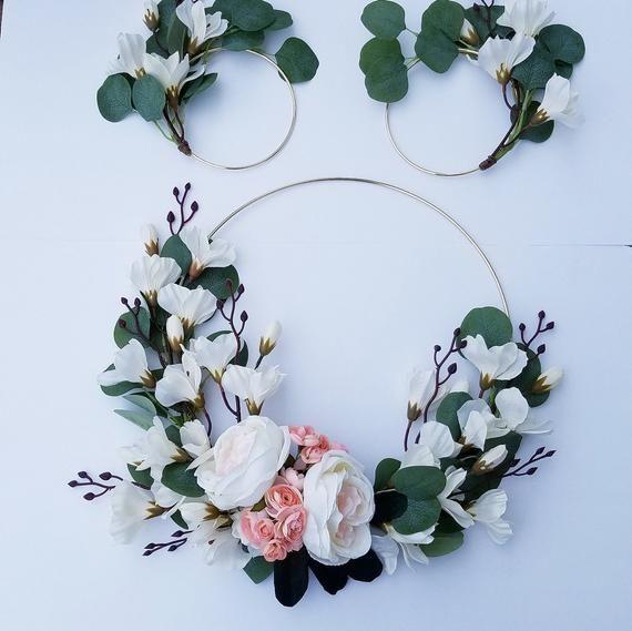 Photo of Modern Wreath Set, Set of Three Wreaths, Nursery Wreath Set, Hoop Wreaths, Spring Wreath Set, Minimalist Wreaths