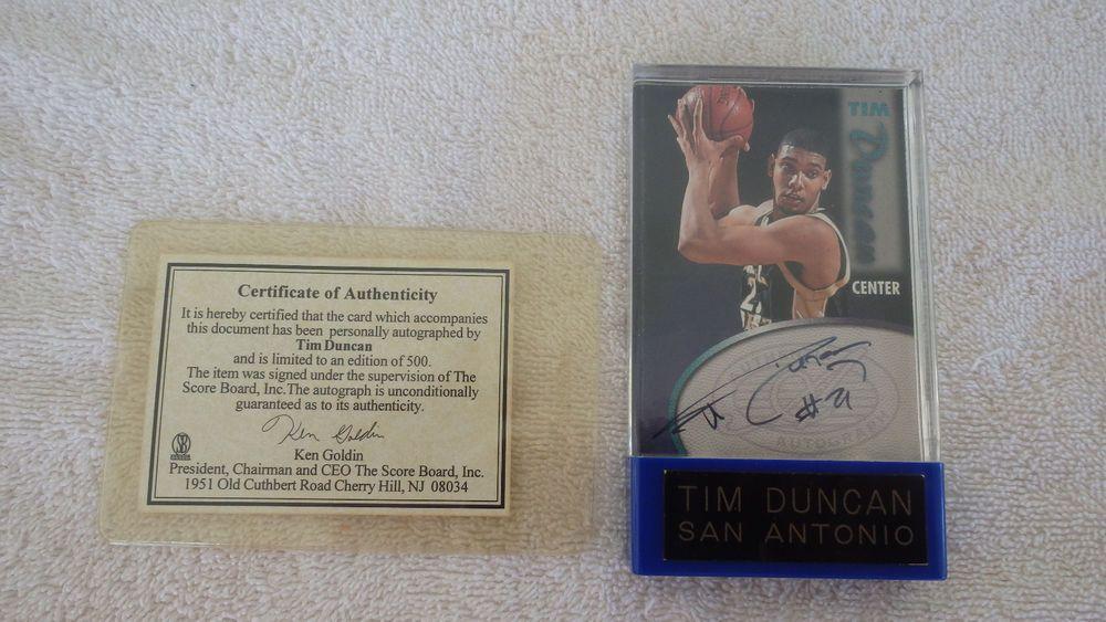 199798 tim duncan spurs score board rookie card autograph