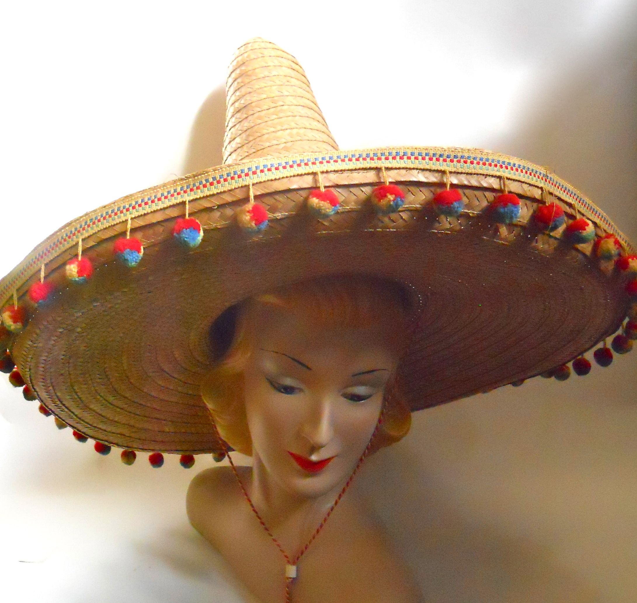 1950s Mexican beach hat with super tall crown   pom pom fringe 4de83b6c95b