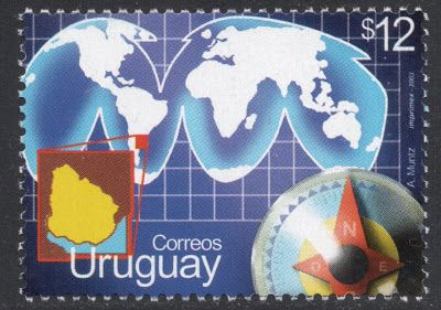 This 2003 stamp from Uruguay, to celebrate their international relations, shows the world as taken off a globe and flatted out. From Stamp Magazine's blog!