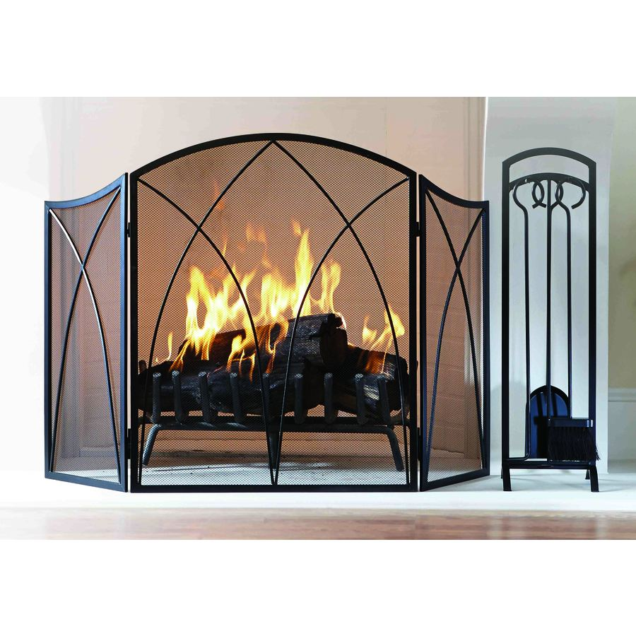 Style Selections 47 87 In Black Powder Coated Steel 3 Panel Arched Fireplace Screen Lowes Com Fireplace Screens Fireplace Black Powder Coat
