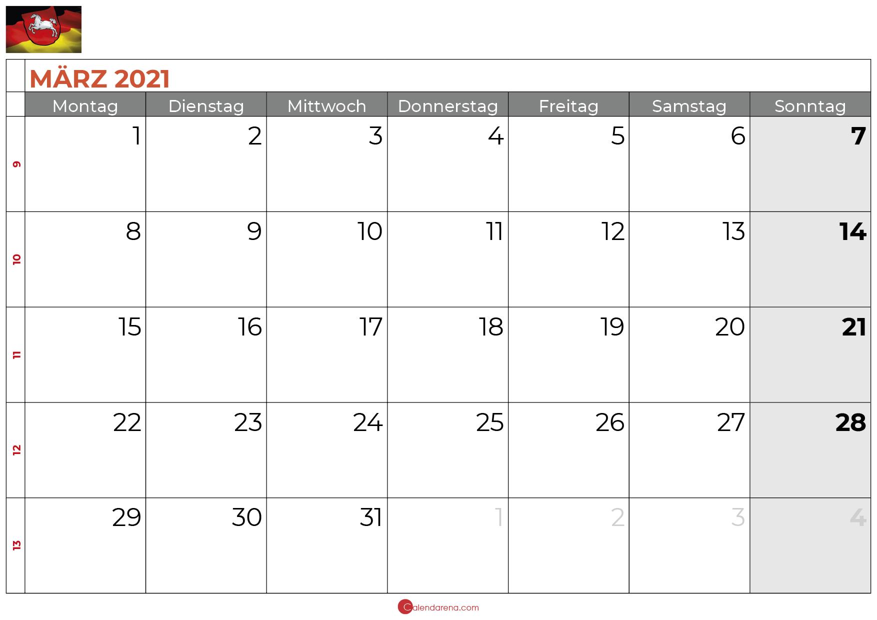 Kalender Marz 2021 Niedersachsen Kalender Kalender Feiertage Monatskalender