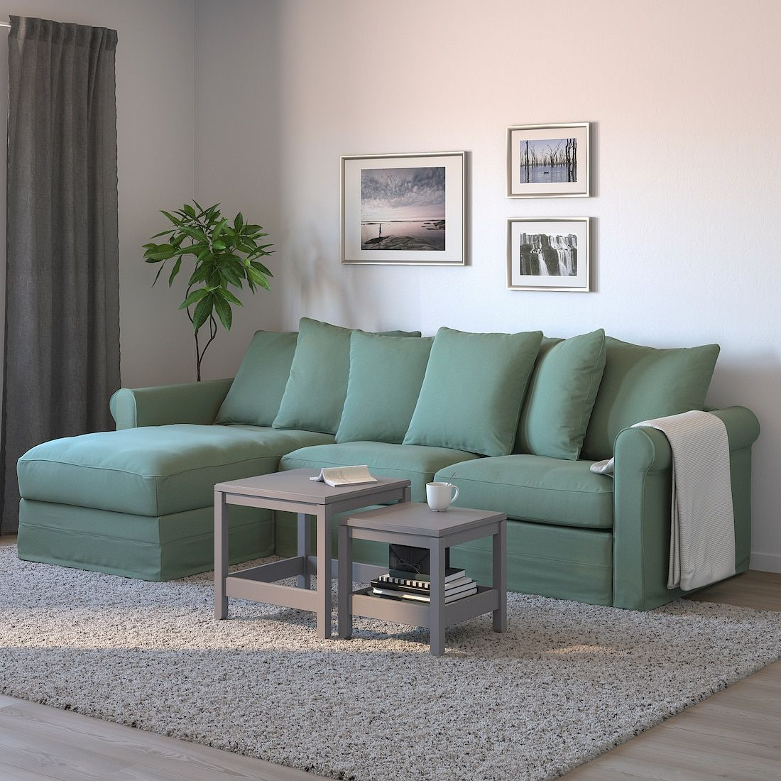 Gronlid 3 Seat Sofa Bed With Chaise Longue Ljungen Light Green Ikea In 2020 Sofa Bed With Chaise Green Sofa Living 3 Seat Sofa Bed