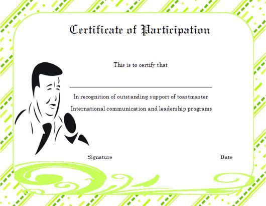 Toastmaster certificate of partcipation template certificate of toastmaster certificate of partcipation template yelopaper Images