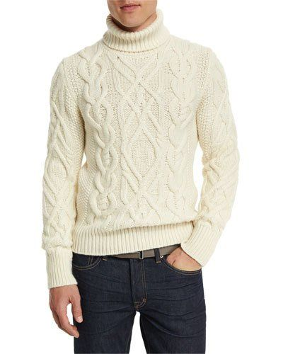 TOM FORD Aran Cable-Knit Fisherman Turtleneck Sweater, Ivory ...