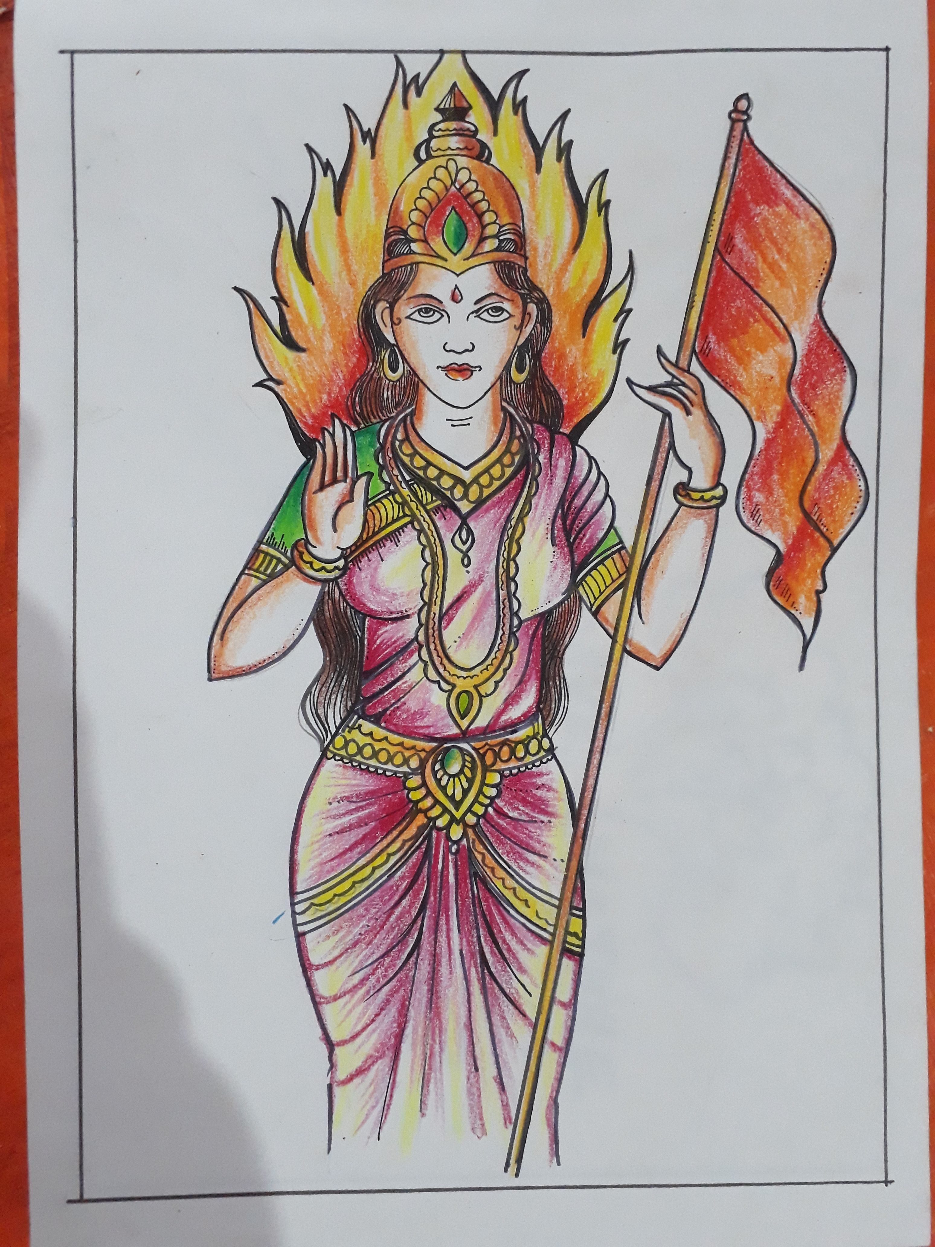 Bharat mata drawing art in 2019 art sketches winter