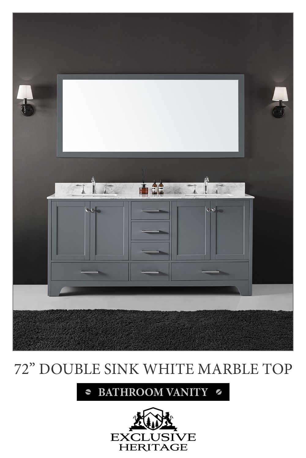 Exclusive Heritage Clariette 72 Double Sinks Bathroom Vanity In