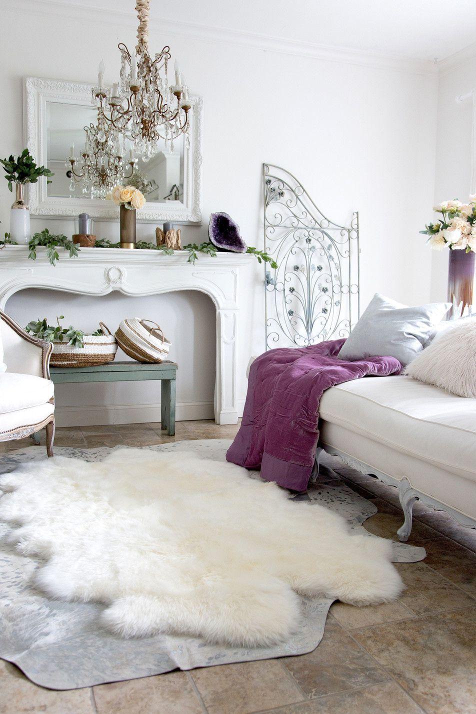 Shabbyfufu Luxury Fur Rug Living Room Ideas Interior