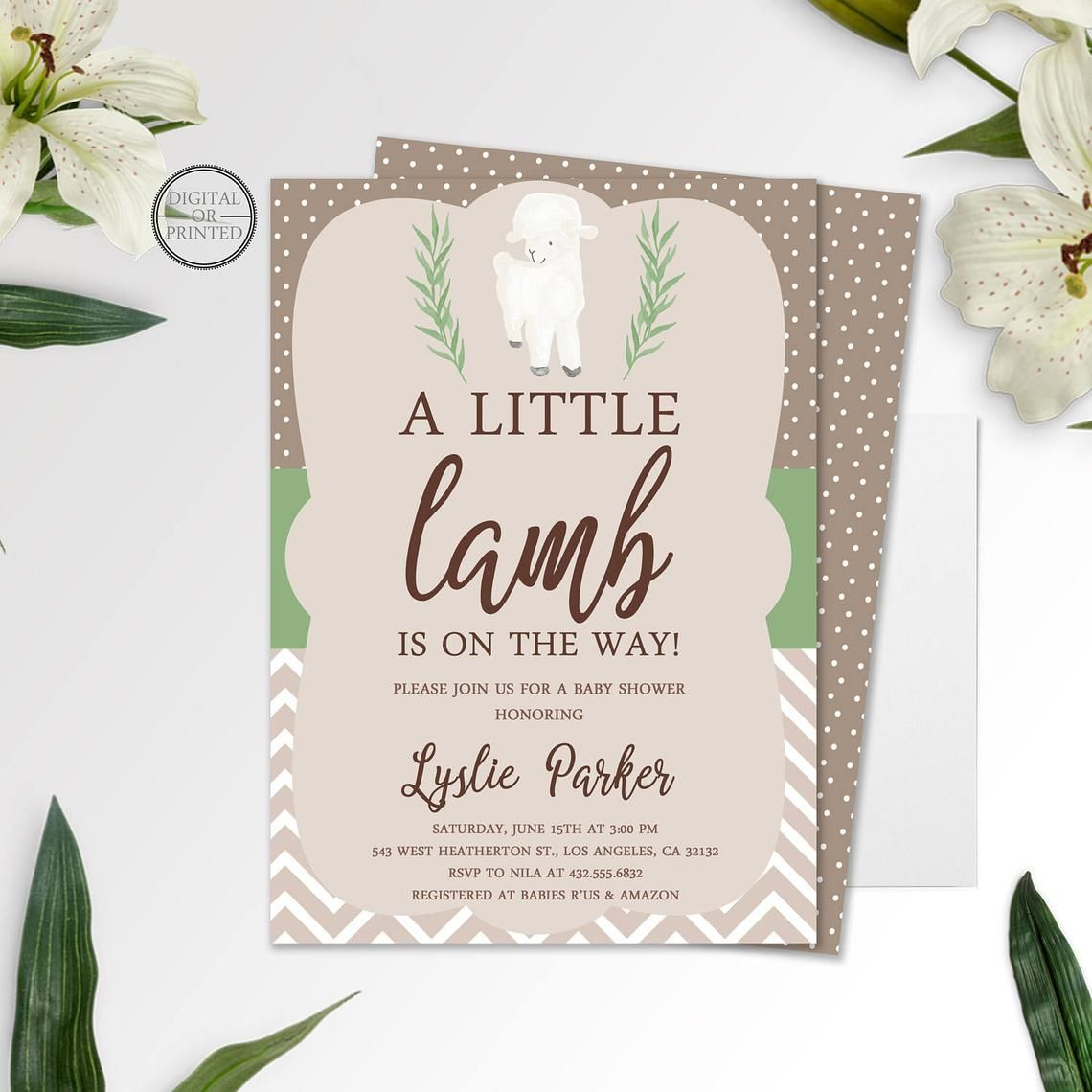 Little Lamb Baby Shower Spring Baby Shower invitation