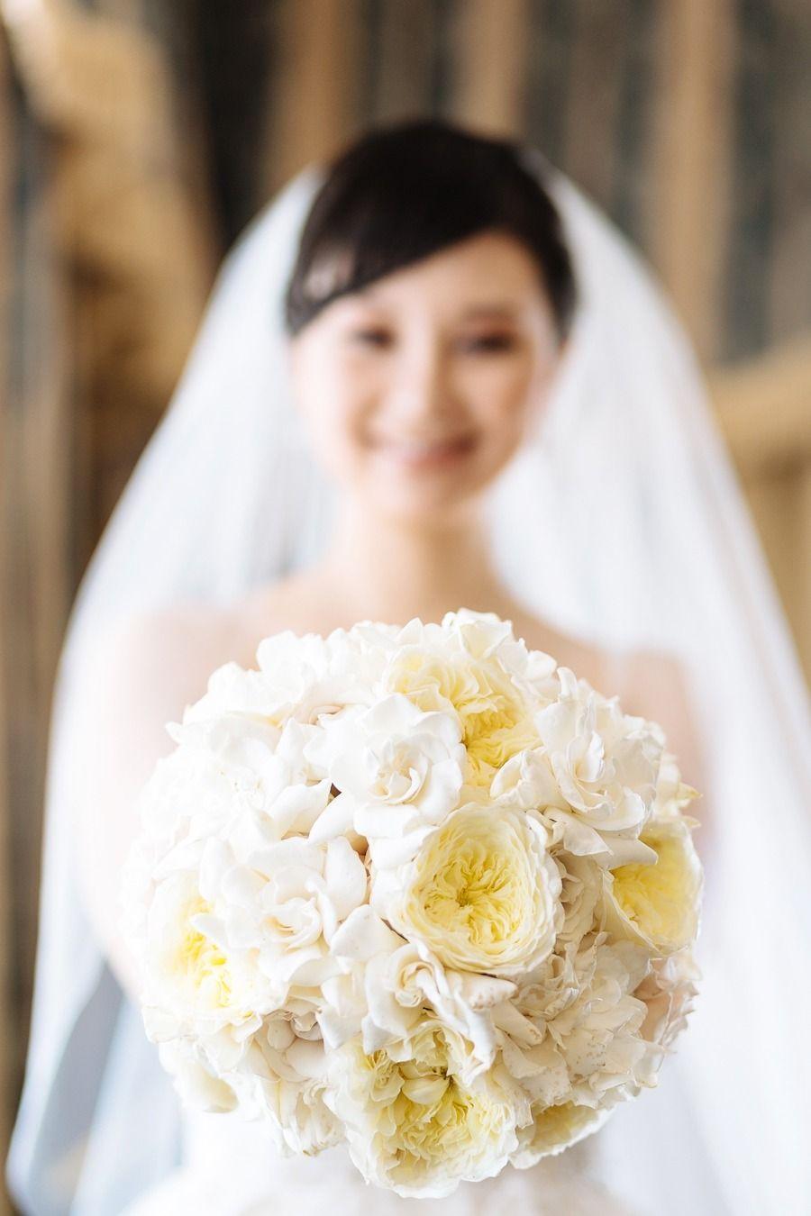 Ivory & Pale Yellow Wedding Bouquet -- Roses & ? Gardenias?? -- See more on SMP here:  http://www.StyleMePretty.com/california-weddings/2014/05/21/elegant-blush-gold-wedding-at-the-fairmont/ Floral Design: VoFloralDesign.com -- Photography: U Me Us Studios - umeusstudios.com