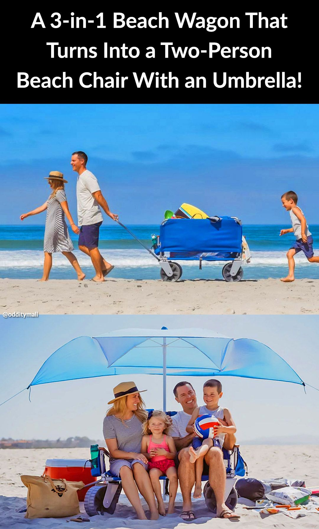 This 3 In 1 Beach Wagon Turns Into A Two Person Beach Chair With An Umbrella Beach Wagon Beach Wagon