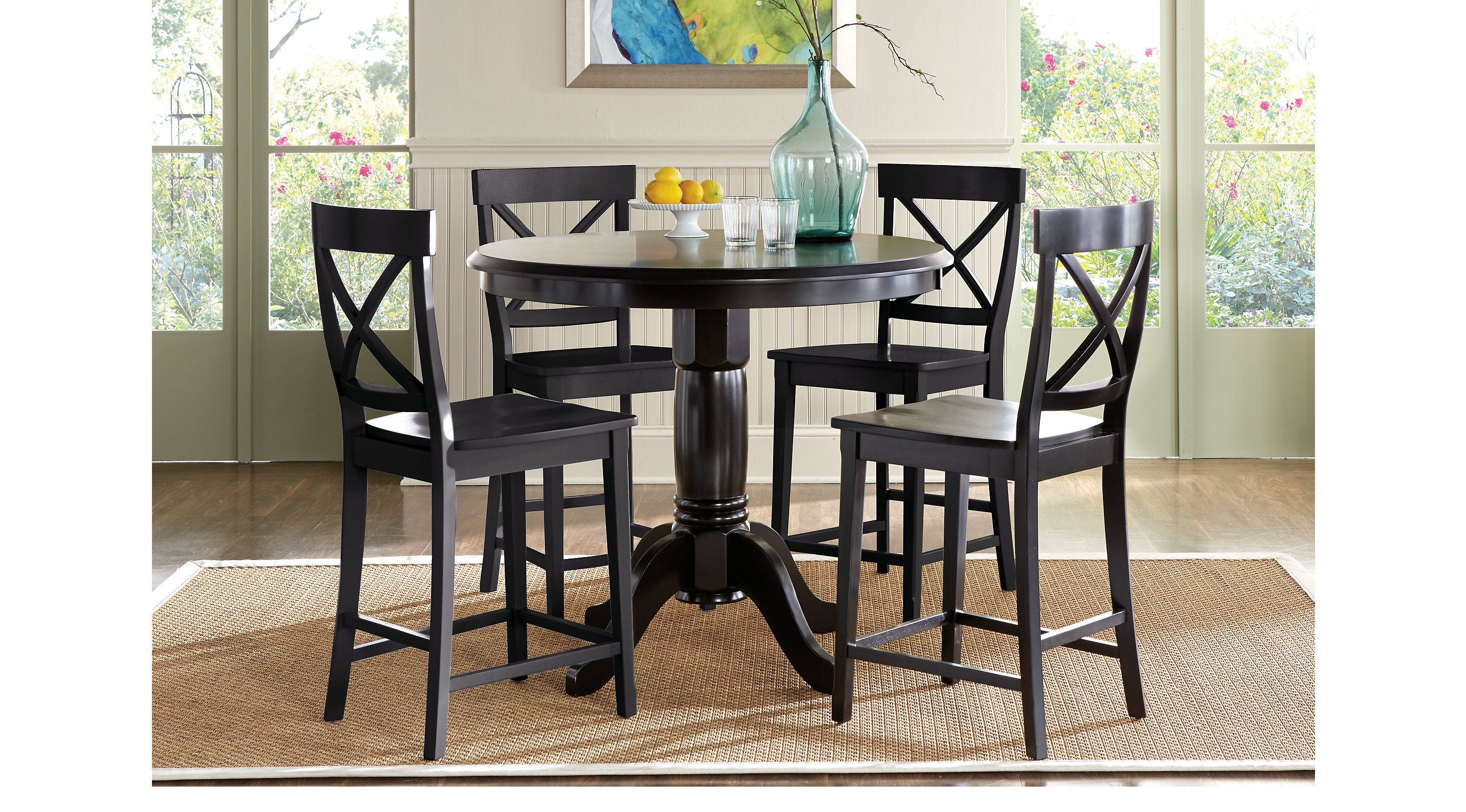 Brynwood Black 5 Pc Counter Height Dining Set X Back Stool