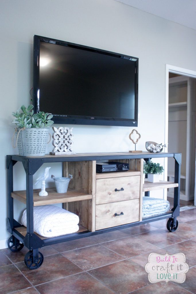 industrial media furniture. This DIY Industrial Media Console Doesn\u0027t Have Any Actual Metal Besides The Wheels. Furniture