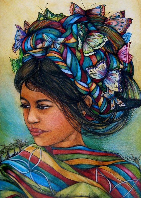 woman with butterflies 8 x 11 inches  art by PrintIllustrations, $15.00