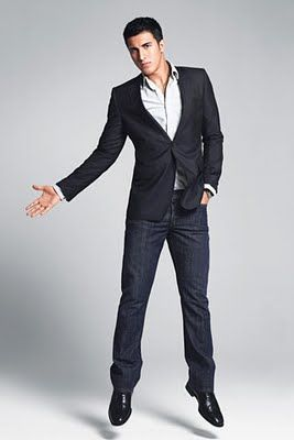 black sport coat with jeans and a new shirt. looks like a date to ...