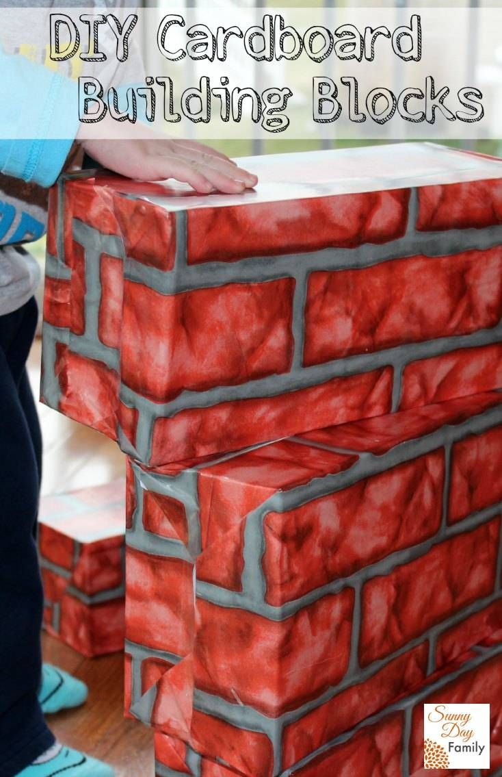 Make Your Own Big Cardboard Building Blocks For Kids By Recycling Empty Shoe Boxes
