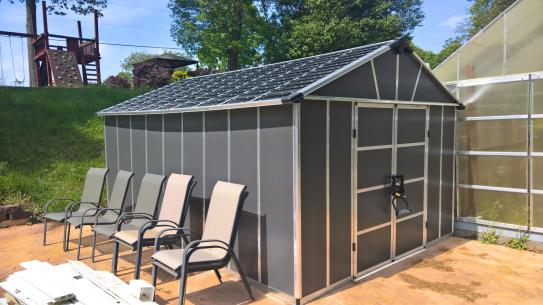 Palram Yukon 11 Ft W X 9 Ft D X 8 3 Ft H Dark Gray Storage Shed With Wpc Floor Kit 704925 The Home Depot Storage Shed Shed Grey Storage