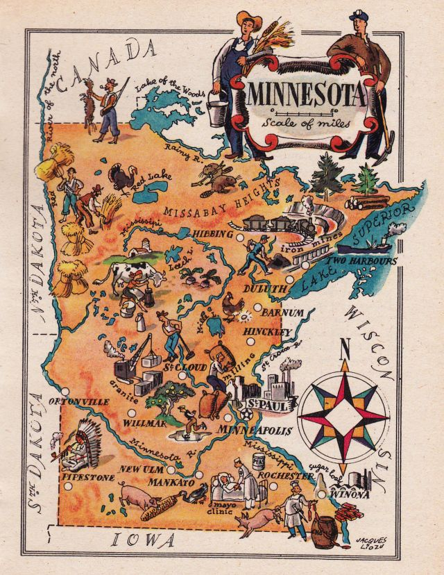 old map of Minnesota by jacques liozu Redbudart Blog Pinterest