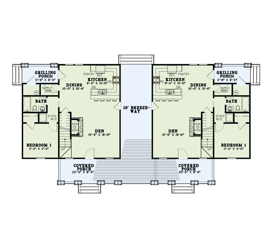 Rustic Duplex House Plan Per Unit 1 379 Heated And Cooled Square Feet 3 Bedrooms 2 Bathrooms Floorplan House Plans Duplex House Plans Rustic House