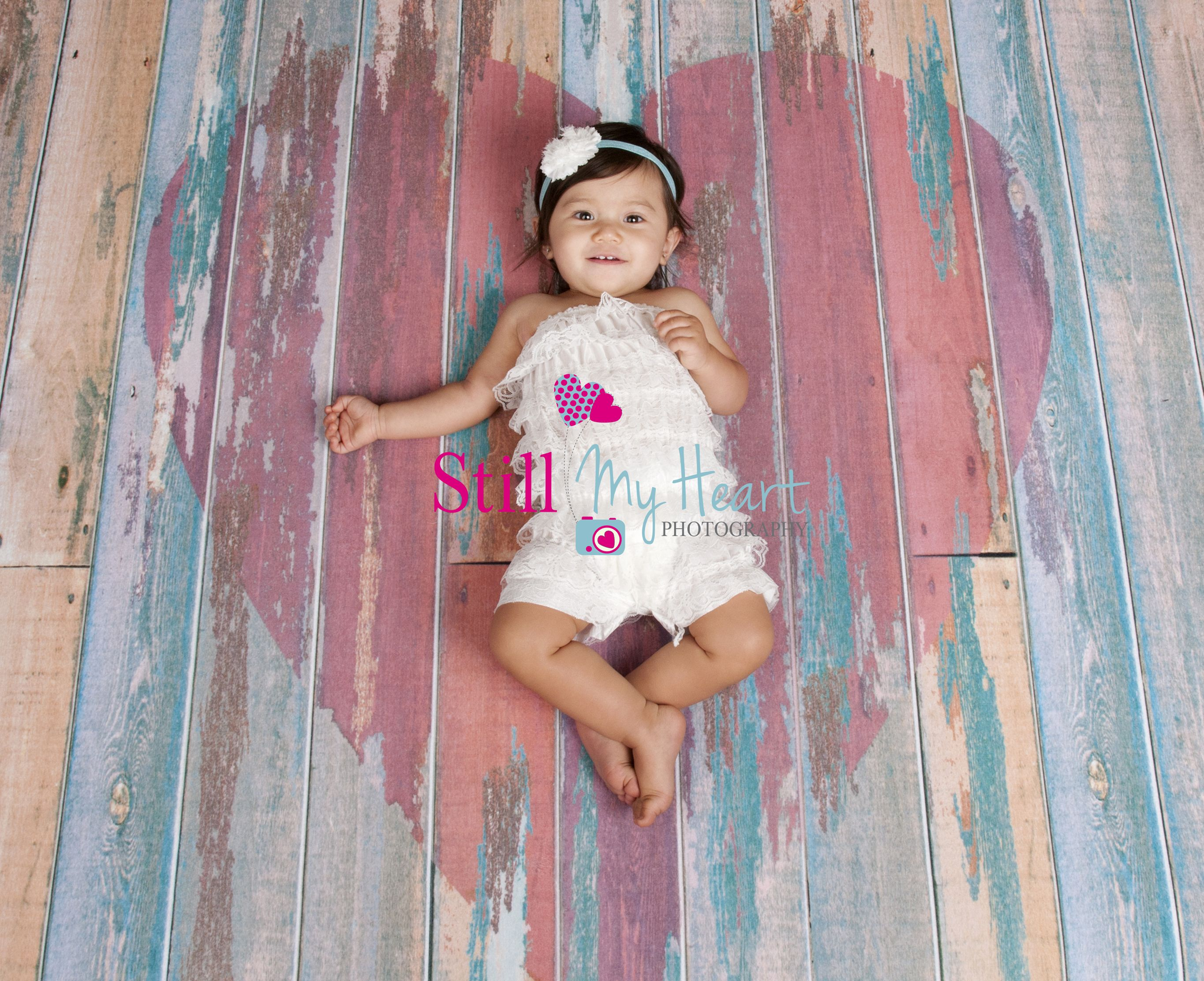 Our Distressed Heart Planks Backdrop / Floordrop is perfect for newborn photos or even Valentine's Day portraits!