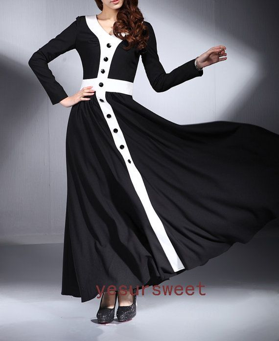 Black and white long maxi dress for spring autumn by yesURsweet