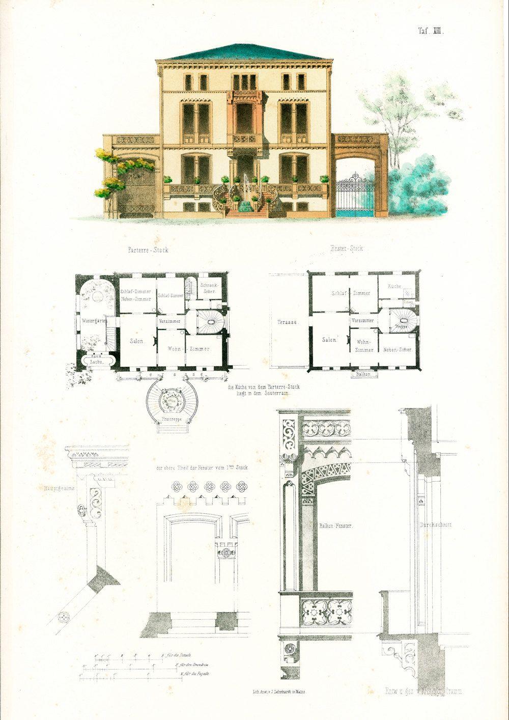 1854 maison moderne de ville plans darchitecte format a3 gravure ancienne esquisse dessin plan détails architecturaux avec passe partout de la boutique