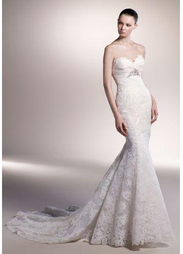 Beautiful Mermaid Style Lace Sweethart Ruffles And Beaded Court Train Wedding Dress