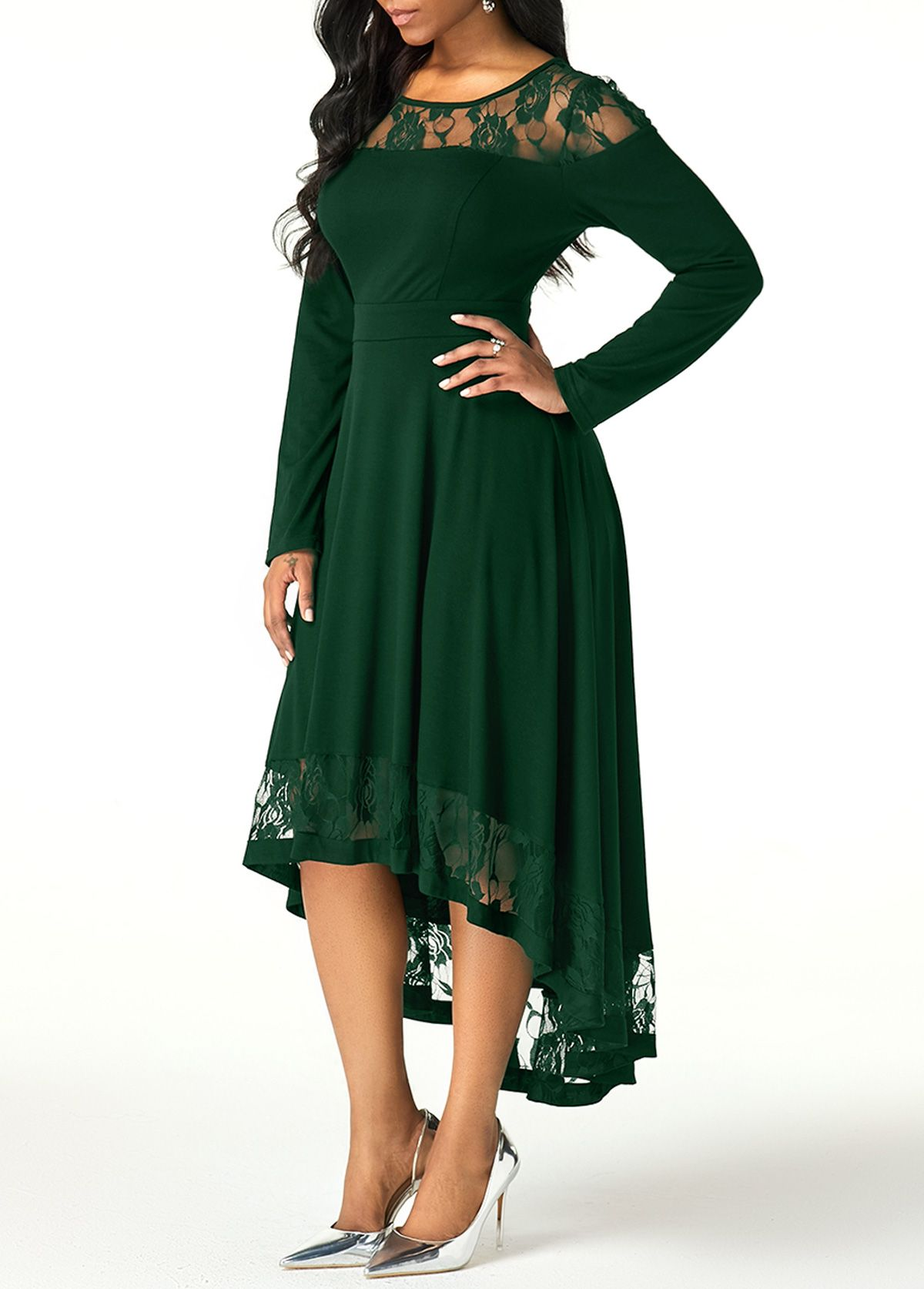 Lace Panel Green Long Sleeve High Low Dress Rotita Com Usd 31 96 Lace Dress With Sleeves Long Sleeve High Low Dress Formal Dresses With Sleeves [ 1674 x 1200 Pixel ]